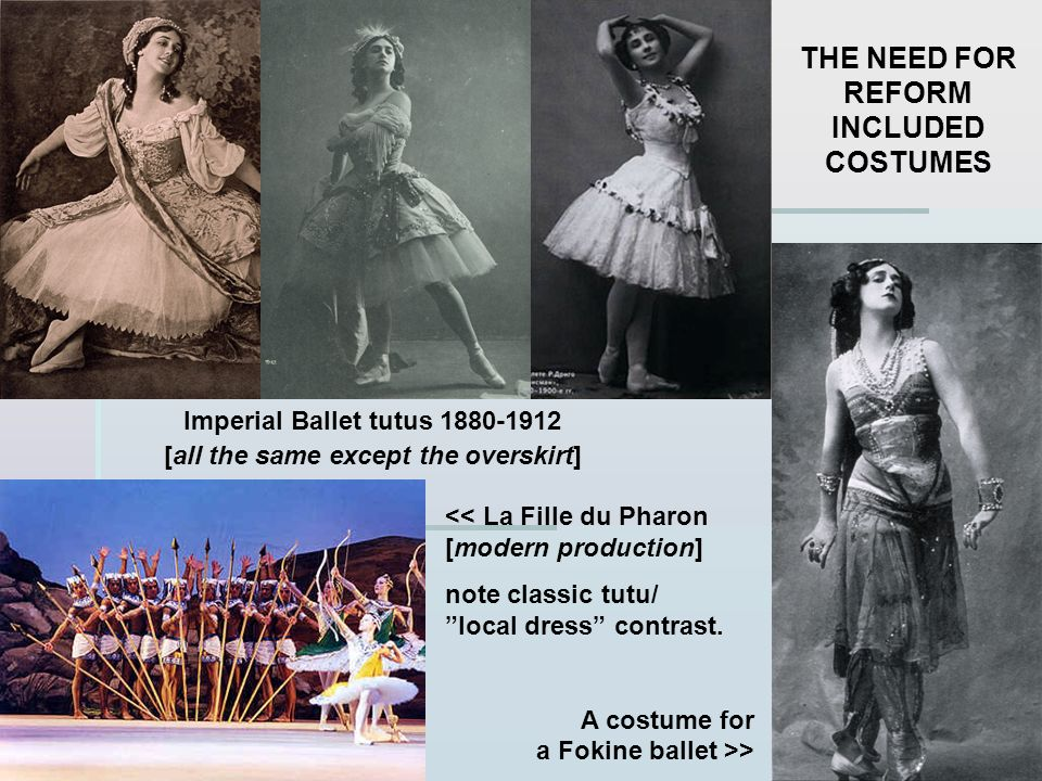 Imperial Ballet tutus 1880-1912 [all the same except the overskirt] << La Fille du Pharon [modern production] note classic tutu/ local dress contrast.
