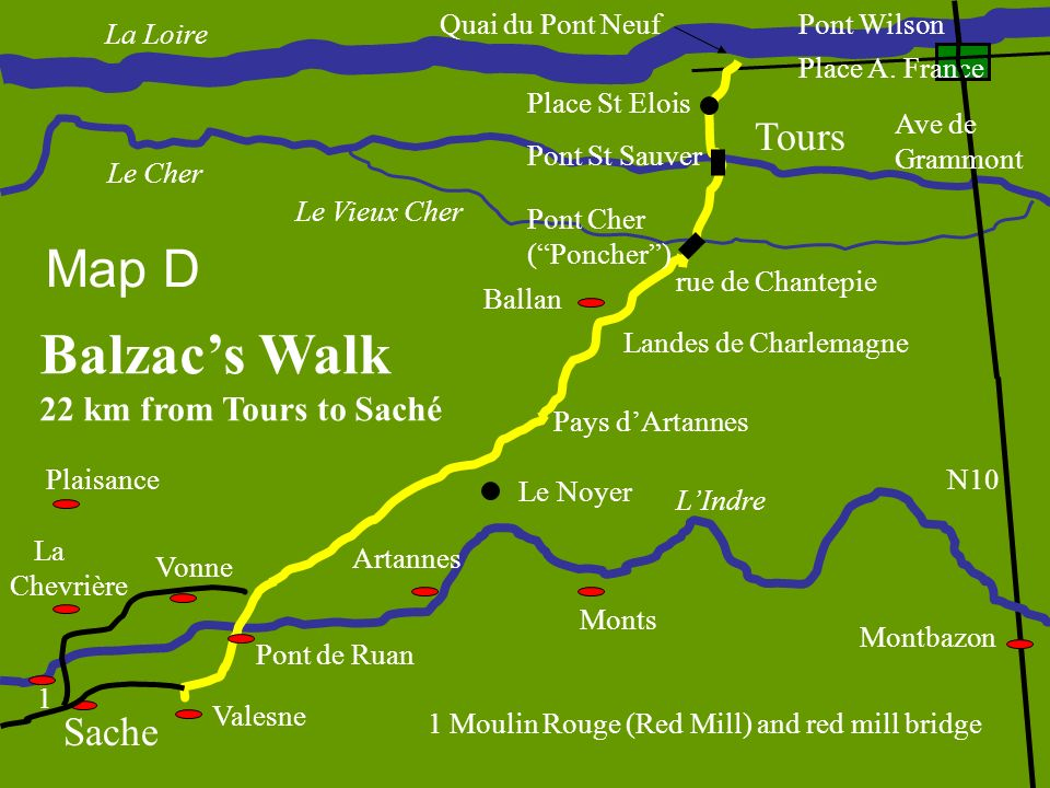 Quai du Pont Neuf Pont St Sauver Pont Cher (Poncher) Landes de Charlemagne Pays dArtannes Pont de Ruan Sache La Chevrière Vonne 1 1 Moulin Rouge (Red