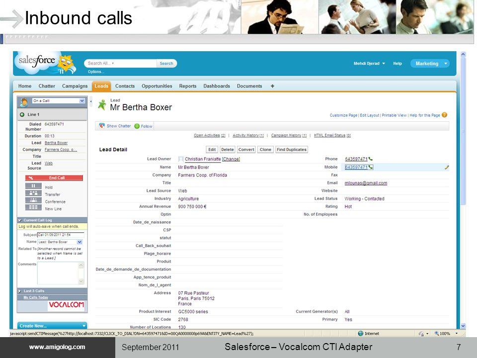 www.unilog.com www.amigolog.com Salesforce – Vocalcom CTI Adapter 8September 2011 Hold and retrieve