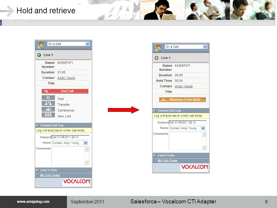 www.unilog.com www.amigolog.com Salesforce – Vocalcom CTI Adapter 8September 2011 Hold and retrieve
