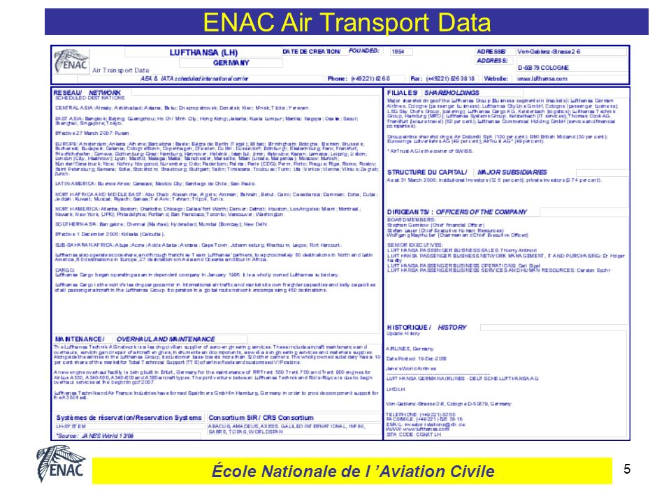 5 ENAC Air Transport Data École Nationale de l Aviation Civile