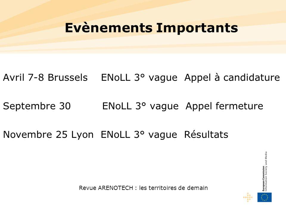 Revue ARENOTECH : les territoires de demain Evènements Importants Avril 7-8 Brussels ENoLL 3° vague Appel à candidature Septembre 30 ENoLL 3° vague Ap