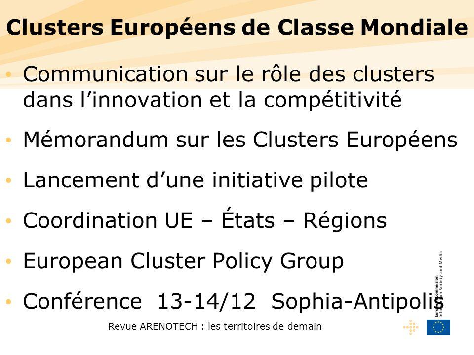 Revue ARENOTECH : les territoires de demain Clusters Européens de Classe Mondiale Communication sur le rôle des clusters dans linnovation et la compét