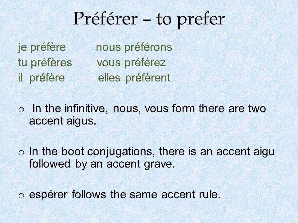 Préférer – to prefer je préfère nous préférons tu préfères vous préférez il préfère elles préfèrent o In the infinitive, nous, vous form there are two accent aigus.
