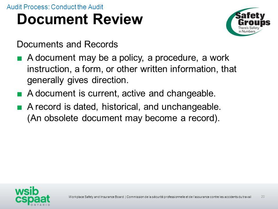 Workplace Safety and Insurance Board | Commission de la sécurité professionnelle et de lassurance contre les accidents du travail 20 Documents and Rec