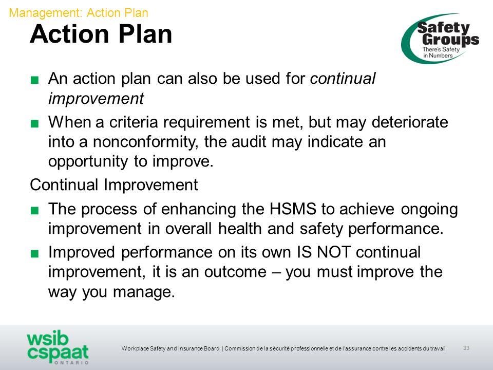 Workplace Safety and Insurance Board | Commission de la sécurité professionnelle et de lassurance contre les accidents du travail 33 An action plan ca
