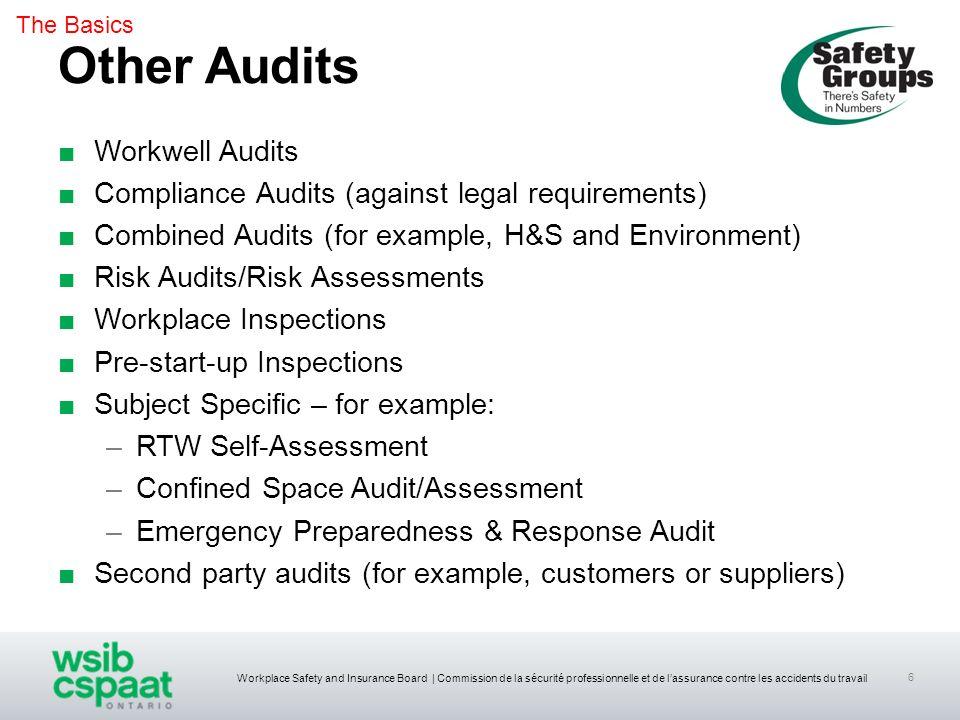 Workplace Safety and Insurance Board | Commission de la sécurité professionnelle et de lassurance contre les accidents du travail 6 Workwell Audits Co