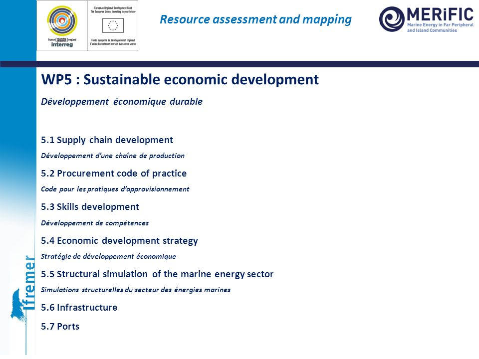 WP5 : Sustainable economic development Développement économique durable 5.1 Supply chain development Développement dune chaîne de production 5.2 Procu