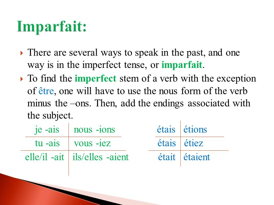 There are several ways to speak in the past, and one way is in the imperfect tense, or imparfait.