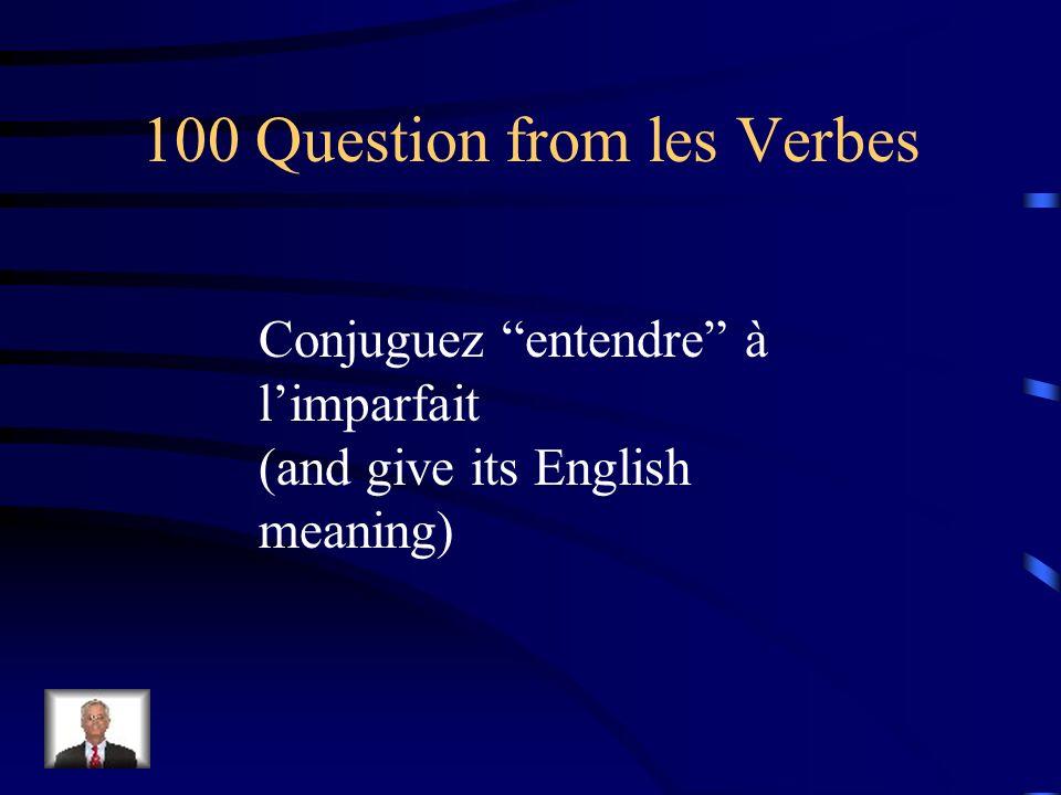 Jeopardy Les verbes Voca- bulaire Voyager Ètapes de vie Pronoms Q $100 Q $200 Q $300 Q $400 Q $500 Q $100 Q $200 Q $300 Q $400 Q $500 Final Jeopardy