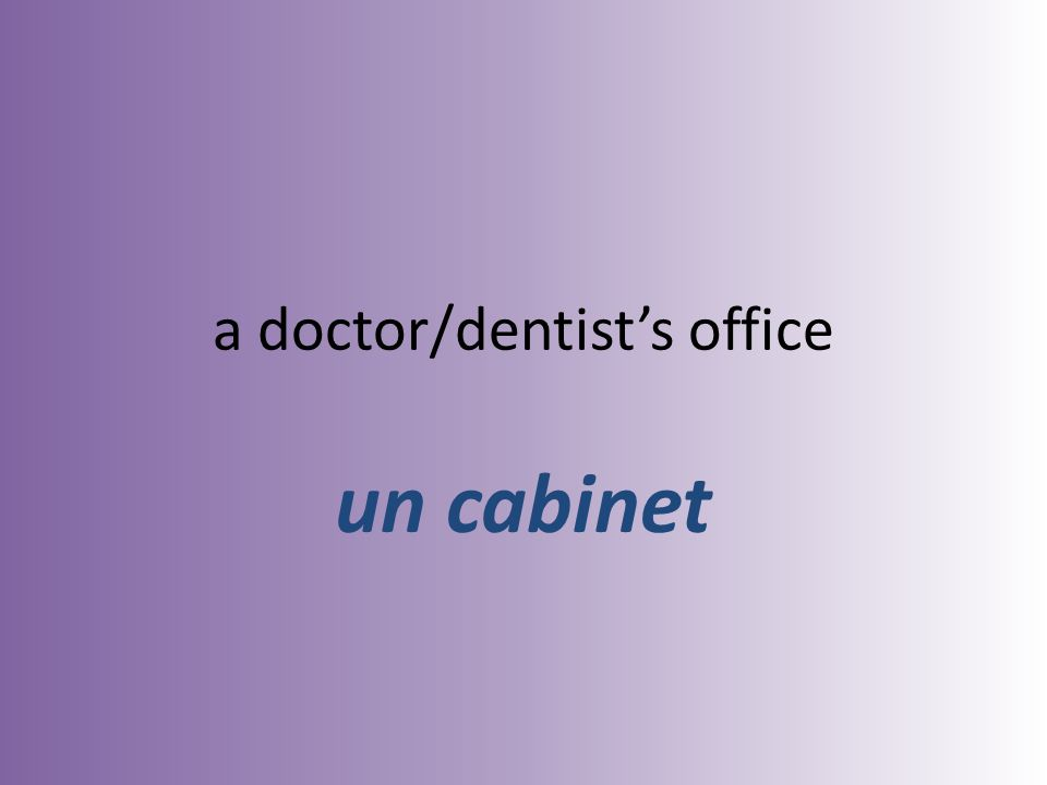 a doctor/dentists office un cabinet