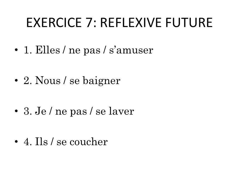 EXERCICE 7: REFLEXIVE FUTURE 1. Elles / ne pas / samuser 2.