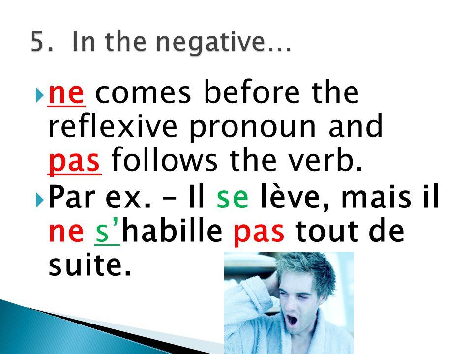 Je mhabille Nous nous habillons Tu thabillesVous vous habillez Il/Elle/ shabille On Paul These noun Anne subjects take Le garçon the same form La fille as their pronouns.