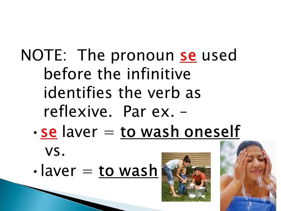 2. Reflexive verbs are used when the same person performs and receives the action of the verb.
