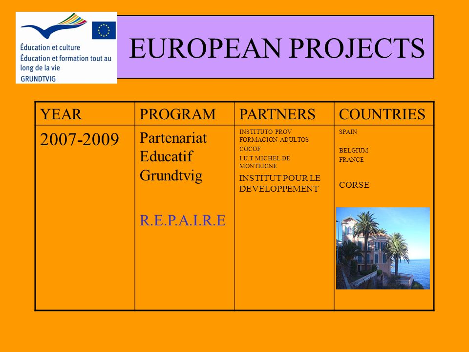 EUROPEAN PROJECTS YEARPROGRAMPARTNERSCOUNTRIES 2006-2007 Partenariat Educatif Grundtvig Action 2 Échanger sur les méthodes d éducation des adultes ASOCIATA PENTRU INVATARE PERMAENTA XIV ISTITUTO COMPRENSIVO UNIVERSITE 3 MONTEIGNE INSTITUTO PROV FORMACION ADULTOS COCOF I.T.S 1- ROUMANIA 2 - ITALIA 3 - France 4 - SPAIN 5 - BELGIUM 6 -GERMANY