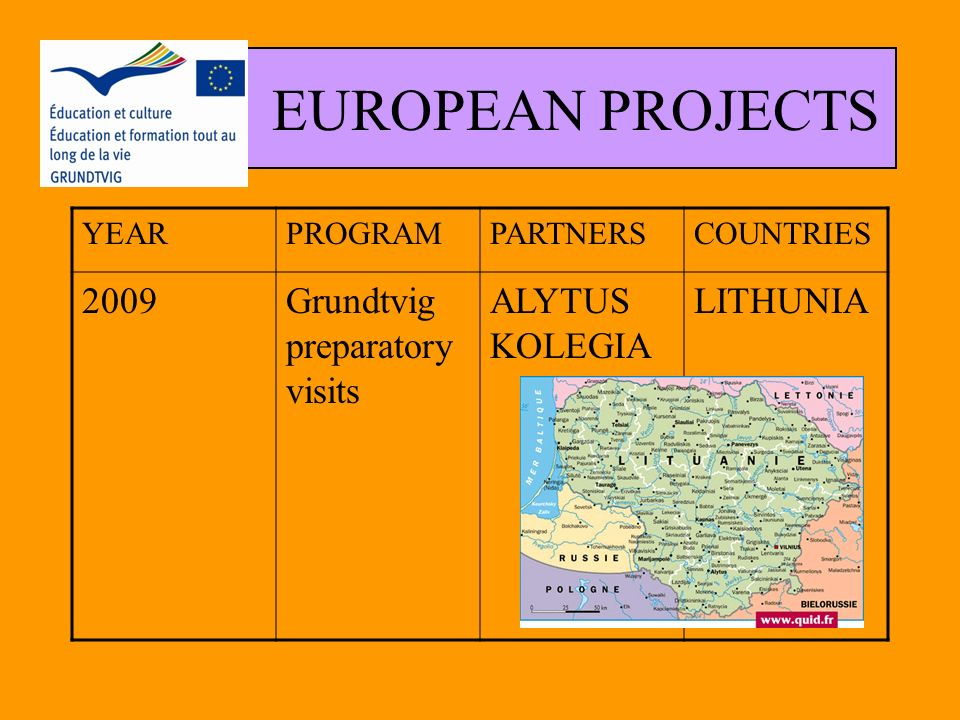 EUROPEAN PROJECTS YEARPROGRAMPARTNERSCOUNTRIES 2007-2009 Partenariat Educatif Grundtvig R.E.P.A.I.R.E INSTITUTO PROV FORMACION ADULTOS COCOF I.U.T MICHEL DE MONTEIGNE INSTITUT POUR LE DEVELOPPEMENT SPAIN BELGIUM FRANCE CORSE