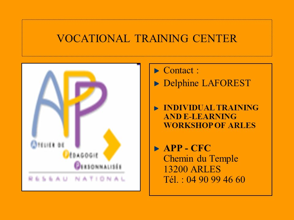 LOGOS OF ACTIVITIES FROM THE VOCATIONAL TRAINING CENTER