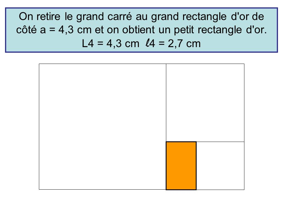 On retire le grand carré au grand rectangle d'or de côté a = 4,3 cm et on obtient un petit rectangle d'or. L4 = 4,3 cm l 4 = 2,7 cm