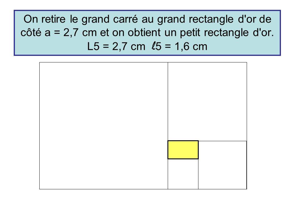 On retire le grand carré au grand rectangle d'or de côté a = 2,7 cm et on obtient un petit rectangle d'or. L5 = 2,7 cm l 5 = 1,6 cm