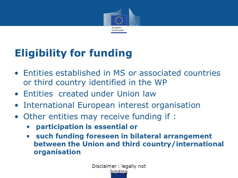 Eligibility for funding Entities established in MS or associated countries or third country identified in the WP Entities created under Union law Inte