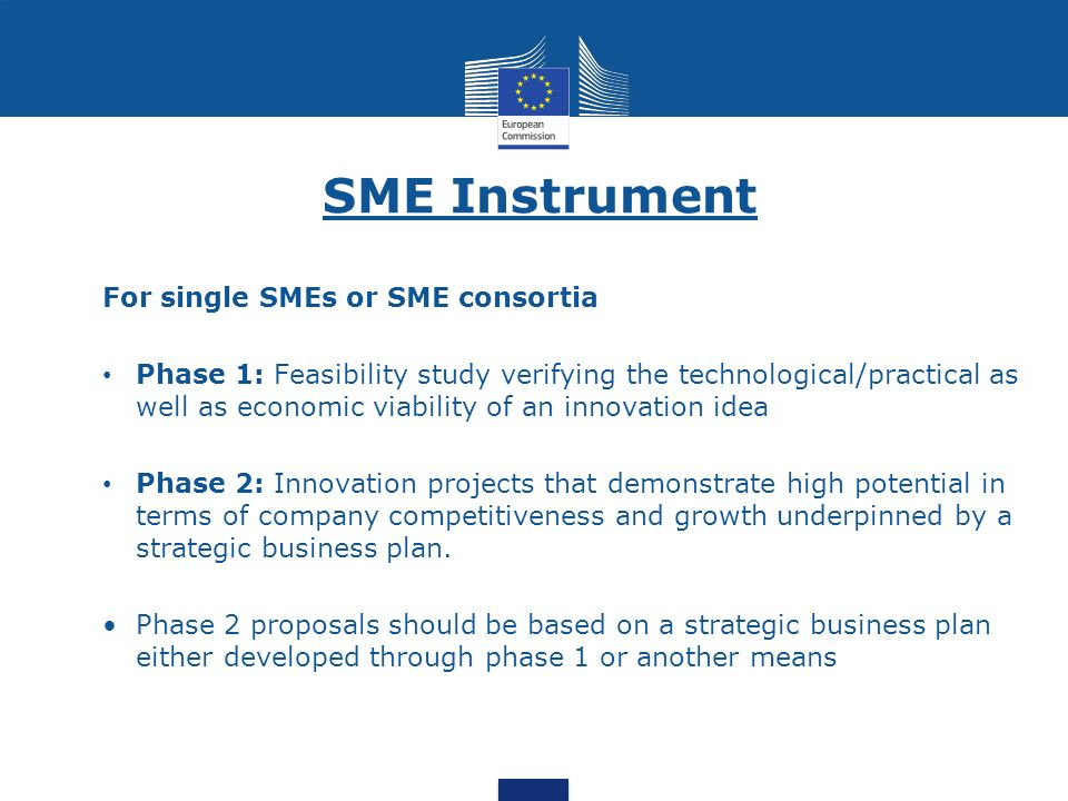 SME Instrument For single SMEs or SME consortia Phase 1: Feasibility study verifying the technological/practical as well as economic viability of an i