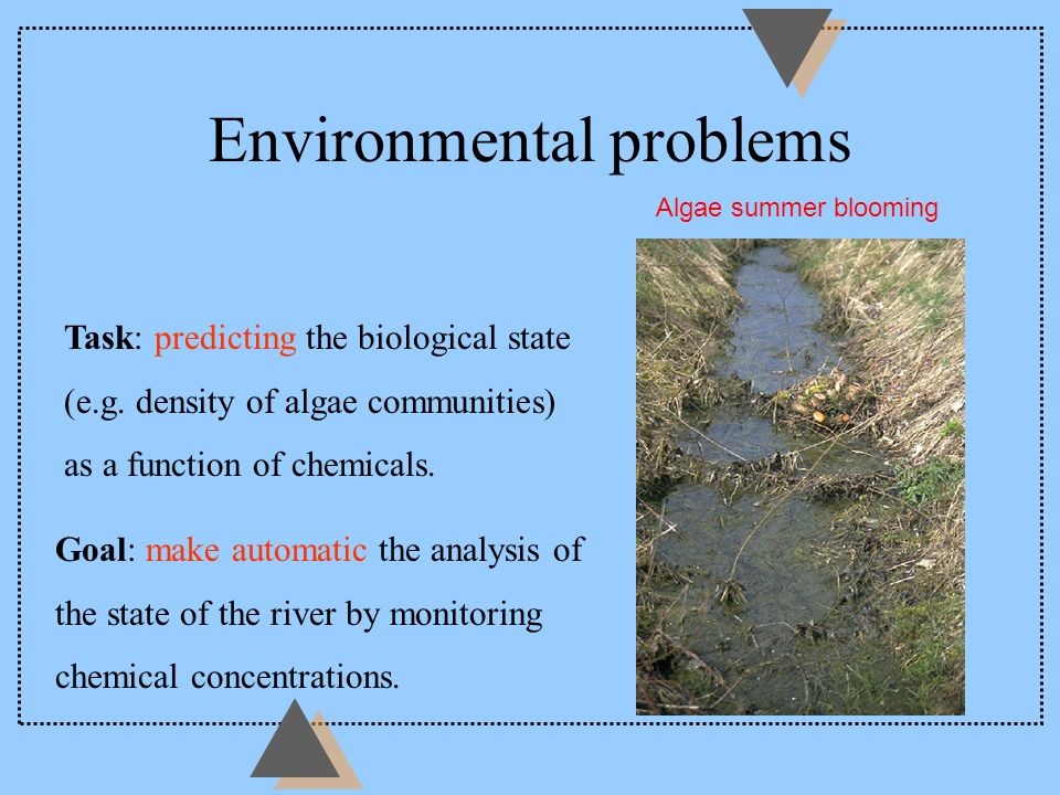 Environmental problems Task: predicting the biological state (e.g. density of algae communities) as a function of chemicals. Goal: make automatic the