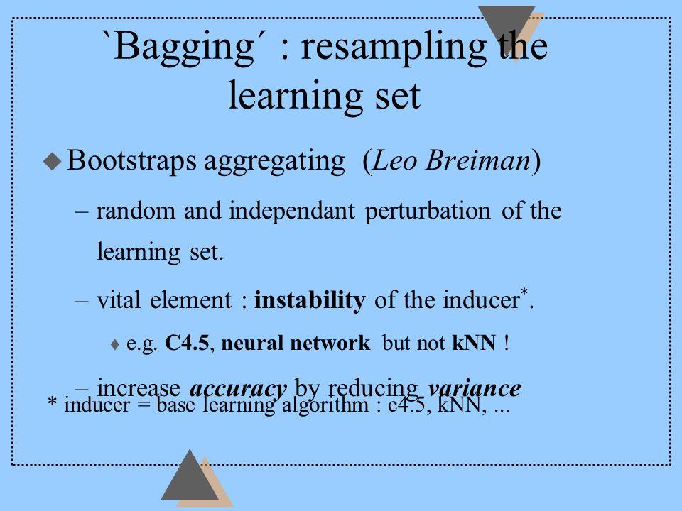 `Bagging´ : resampling the learning set u Bootstraps aggregating (Leo Breiman) –random and independant perturbation of the learning set.