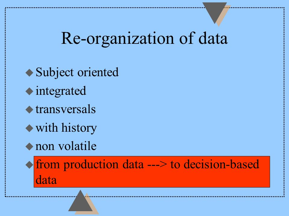 Re-organization of data u Subject oriented u integrated u transversals u with history u non volatile u from production data ---> to decision-based dat