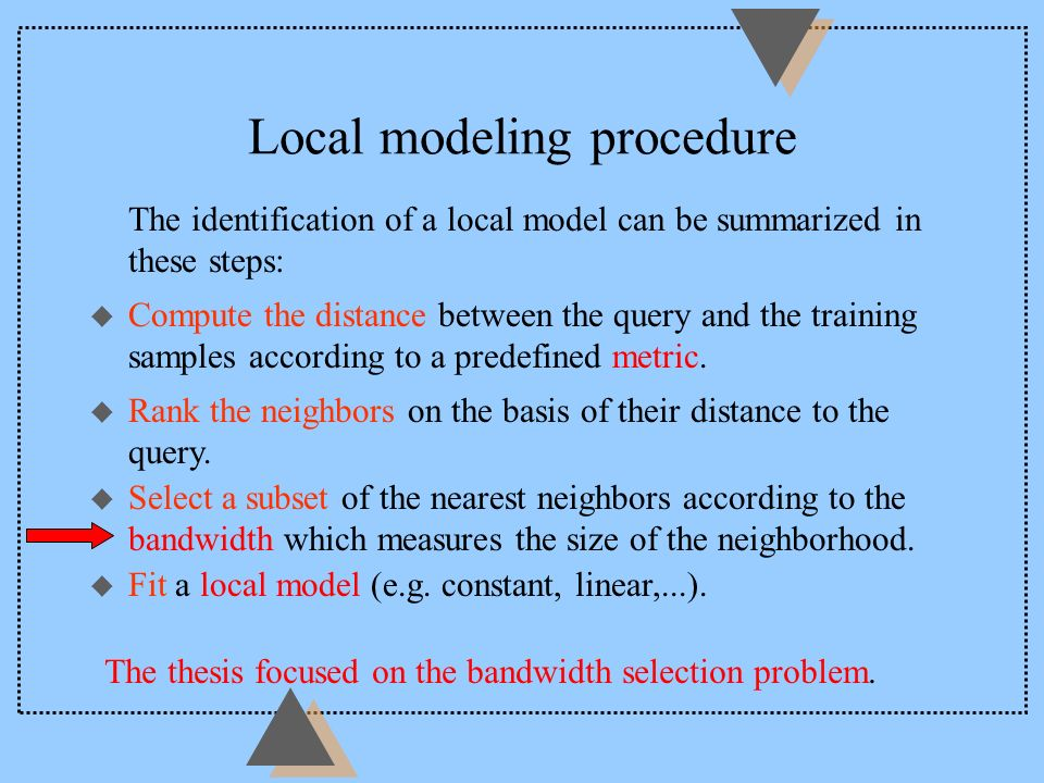 Local modeling procedure The identification of a local model can be summarized in these steps: The thesis focused on the bandwidth selection problem.