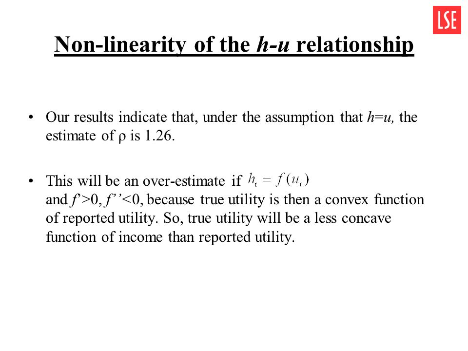 Non-linearity of the h-u relationship Our results indicate that, under the assumption that h=u, the estimate of ρ is 1.26. This will be an over-estima