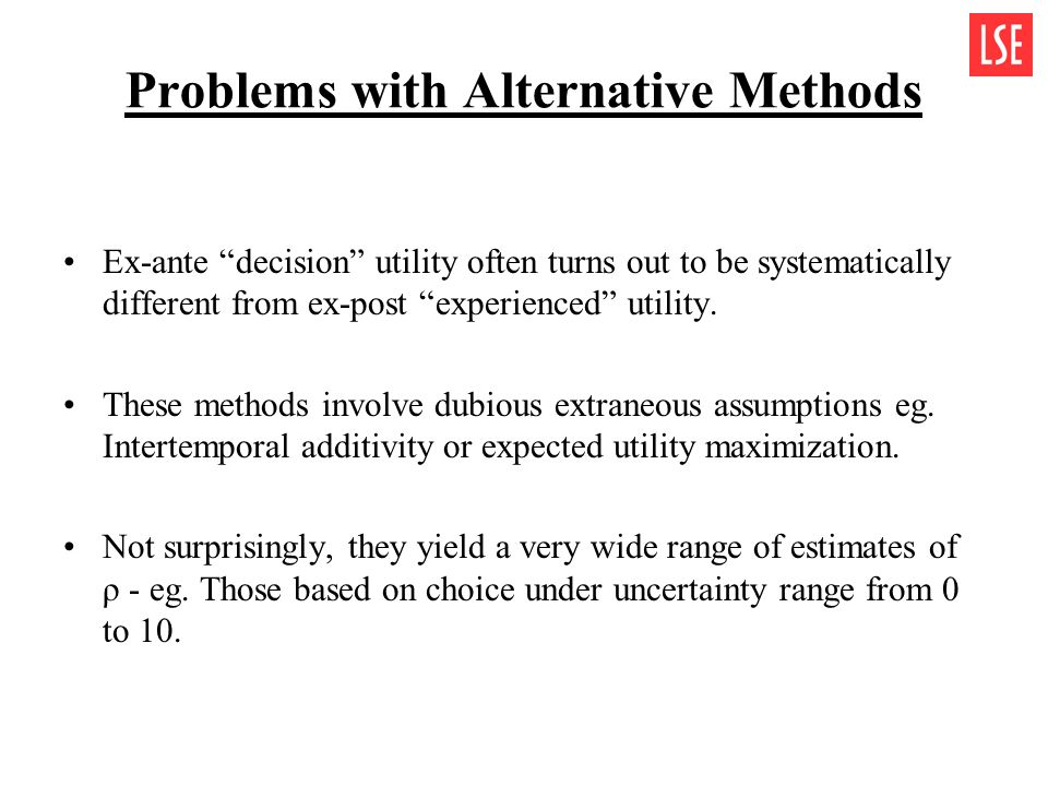 Problems with Alternative Methods Ex-ante decision utility often turns out to be systematically different from ex-post experienced utility. These meth