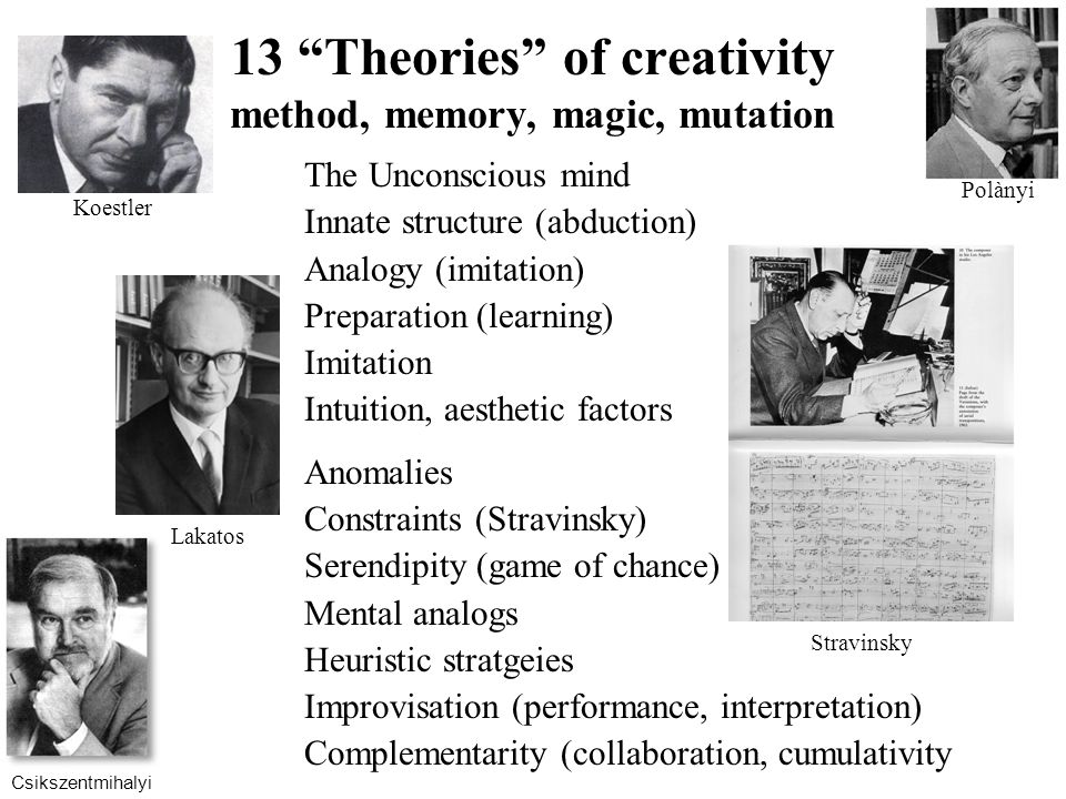 13 Theories of creativity method, memory, magic, mutation The Unconscious mind Innate structure (abduction) Analogy (imitation) Preparation (learning) Imitation Intuition, aesthetic factors Anomalies Constraints (Stravinsky) Serendipity (game of chance) Mental analogs Heuristic stratgeies Improvisation (performance, interpretation) Complementarity (collaboration, cumulativity Stravinsky Koestler Lakatos Polànyi Csikszentmihalyi