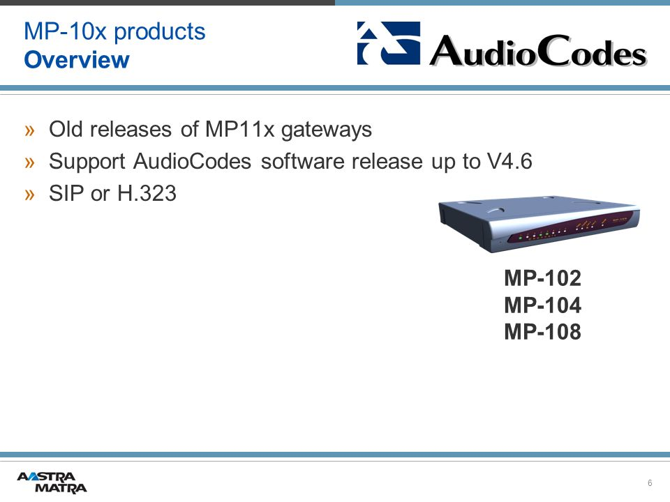 6 MP-10x products Overview »Old releases of MP11x gateways »Support AudioCodes software release up to V4.6 »SIP or H.323 MP-102 MP-104 MP-108