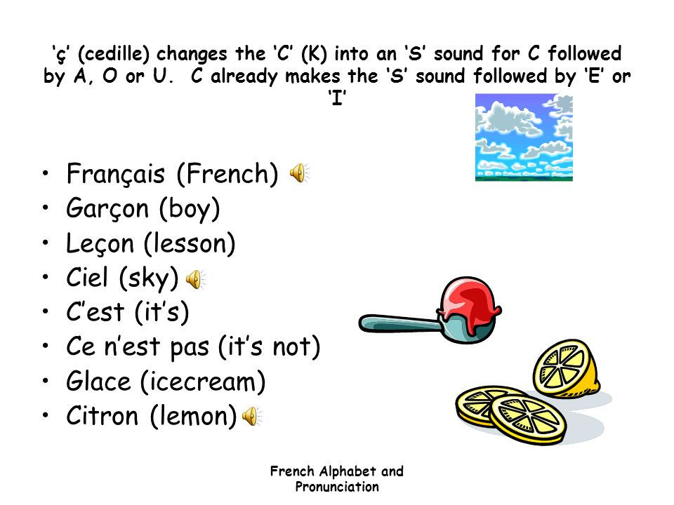 French Alphabet and Pronunciation Accents Some but not all accents can change the sound of the letter and or the meaning of a word. The main ones are: