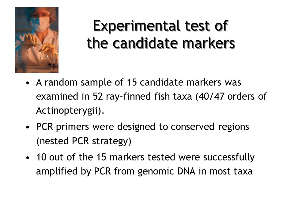 A random sample of 15 candidate markers was examined in 52 ray-finned fish taxa (40/47 orders of Actinopterygii).
