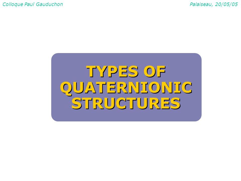 Colloque Paul GauduchonPalaiseau, 20/05/05 TYPES OF QUATERNIONIC STRUCTURES TYPES OF QUATERNIONIC STRUCTURES