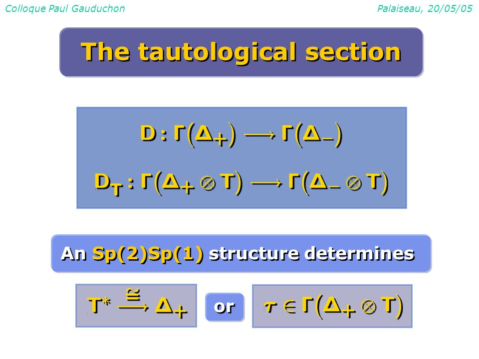 Colloque Paul GauduchonPalaiseau, 20/05/05 The tautological section An Sp(2)Sp(1) structure determines or