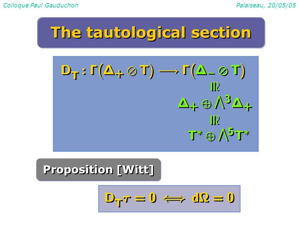 Colloque Paul GauduchonPalaiseau, 20/05/05 Proposition [Witt] The tautological section