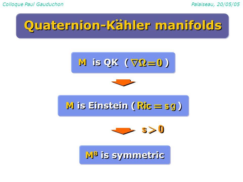 Colloque Paul GauduchonPalaiseau, 20/05/05 M is QK ( ) M is Einstein ( ) M 8 is symmetric Quaternion-Kahler manifolds