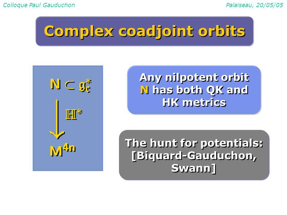 Colloque Paul GauduchonPalaiseau, 20/05/05 Complex coadjoint orbits Any nilpotent orbit N has both QK and HK metrics The hunt for potentials: [Biquard-Gauduchon, Swann]