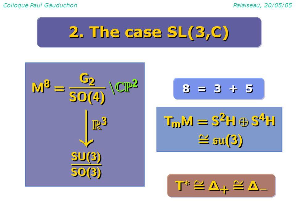 Colloque Paul GauduchonPalaiseau, 20/05/05 2. The case SL(3,C) 8 = 3 + 5