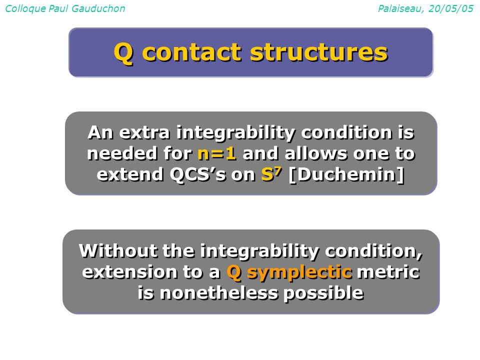 Colloque Paul GauduchonPalaiseau, 20/05/05 An extra integrability condition is needed for n=1 and allows one to extend QCSs on S 7 [Duchemin] Without the integrability condition, extension to a Q symplectic metric is nonetheless possible Q contact structures