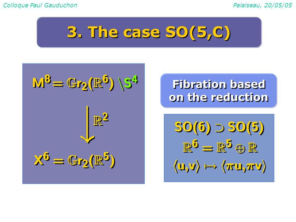 Colloque Paul GauduchonPalaiseau, 20/05/05 3. The case SO(5,C) Fibration based on the reduction