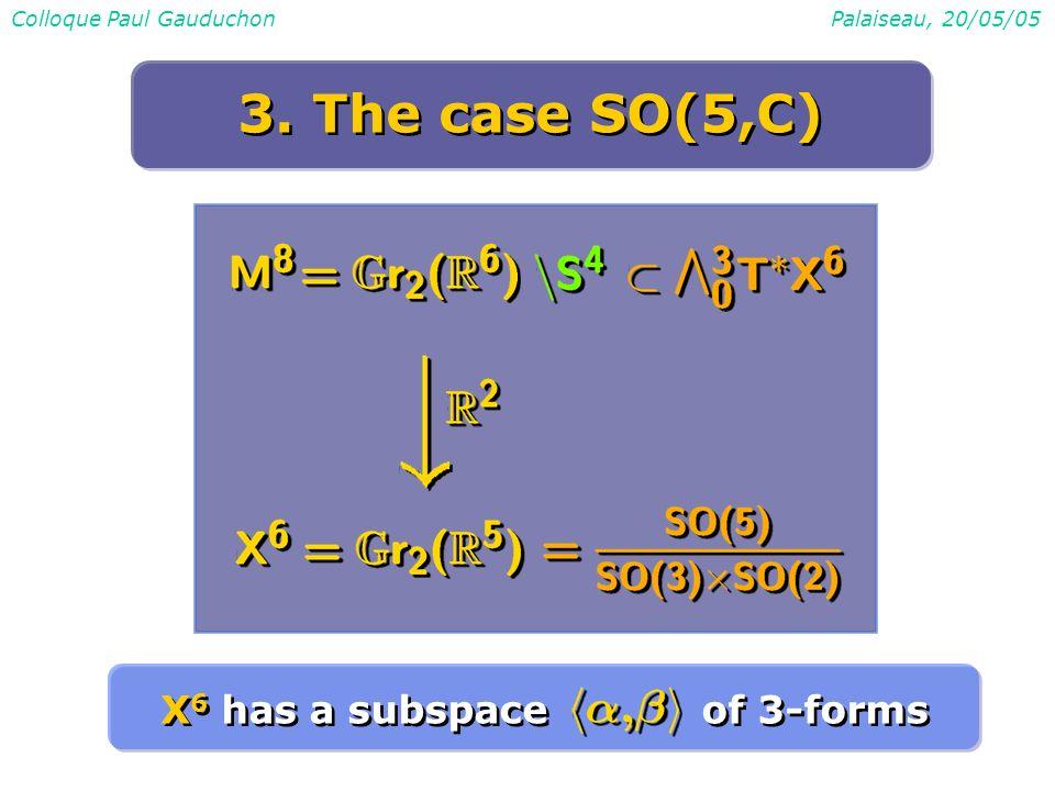 Colloque Paul GauduchonPalaiseau, 20/05/05 3. The case SO(5,C) X 6 has a subspace of 3-forms