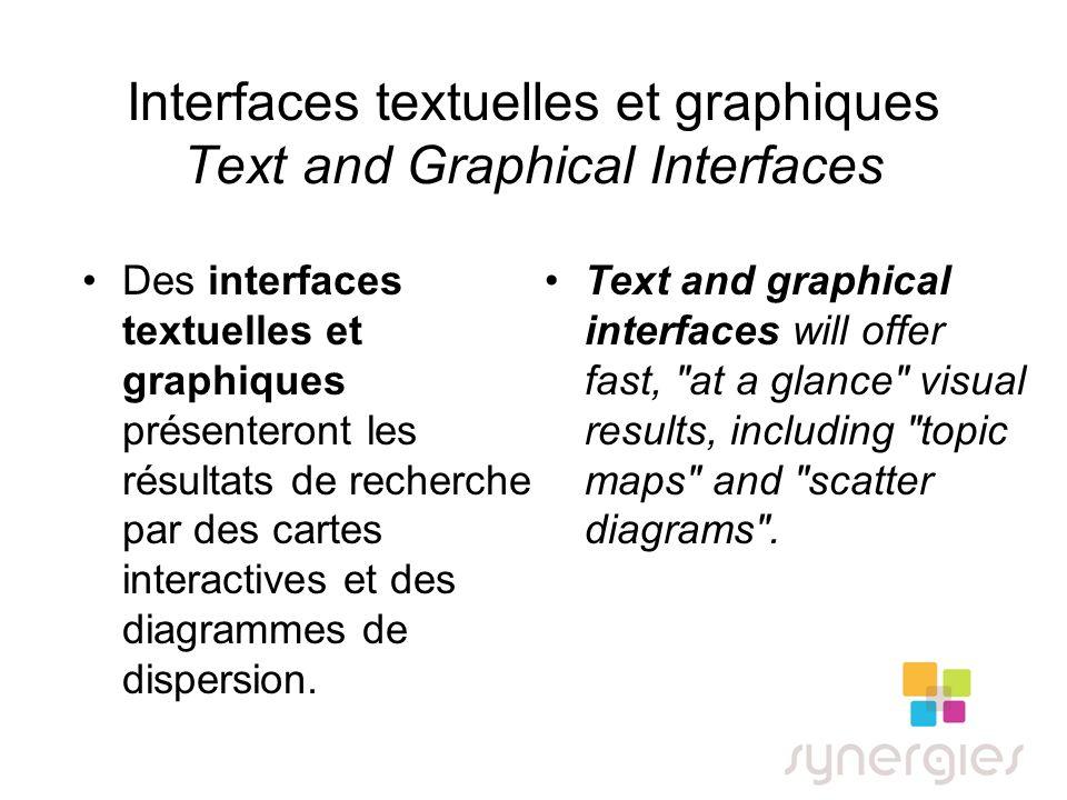 Interfaces textuelles et graphiques Text and Graphical Interfaces Des interfaces textuelles et graphiques présenteront les résultats de recherche par des cartes interactives et des diagrammes de dispersion.