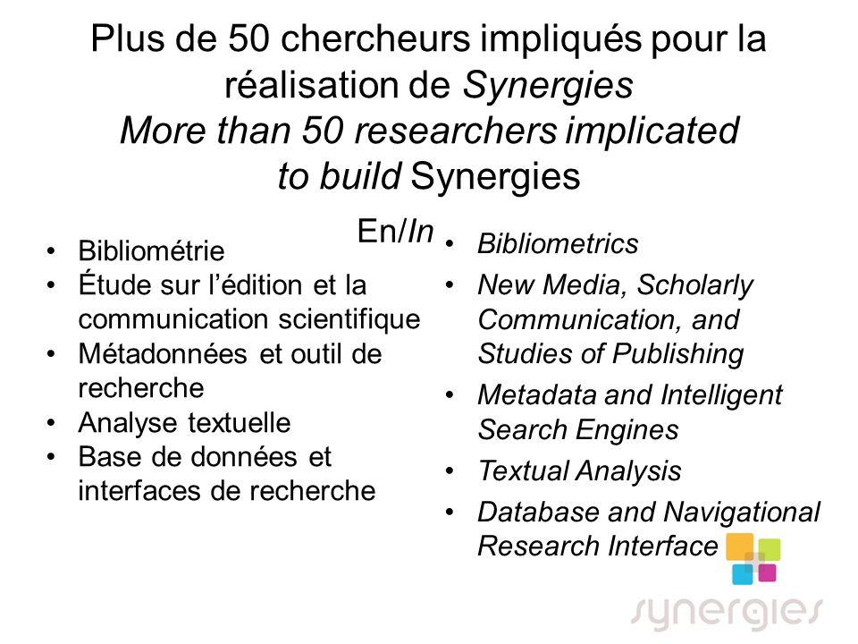 Plus de 50 chercheurs impliqués pour la réalisation de Synergies More than 50 researchers implicated to build Synergies Bibliométrie Étude sur léditio