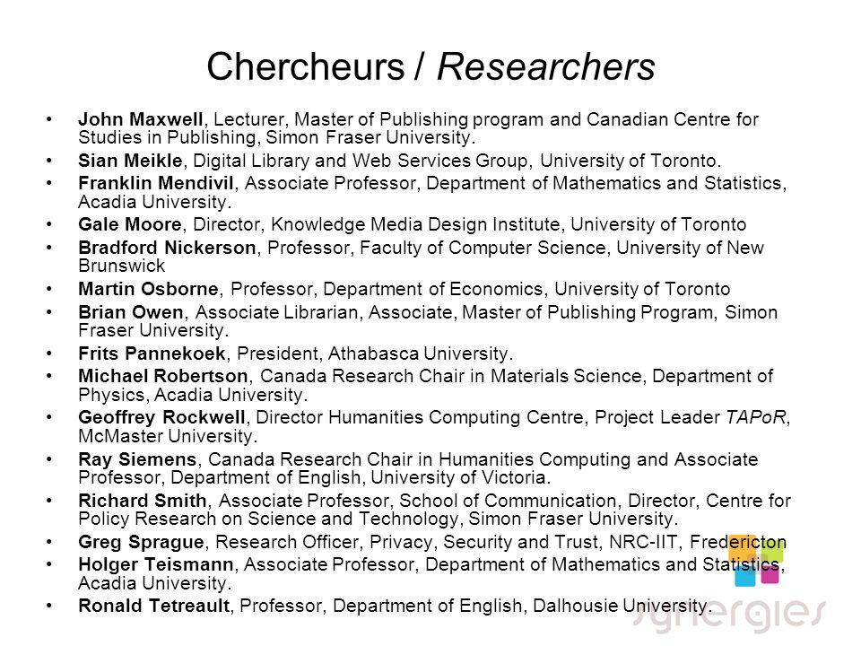 Chercheurs / Researchers John Maxwell, Lecturer, Master of Publishing program and Canadian Centre for Studies in Publishing, Simon Fraser University.