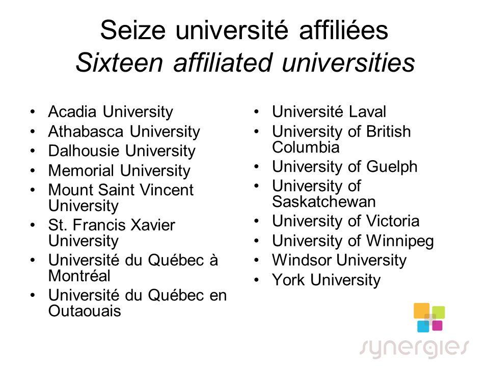 Seize université affiliées Sixteen affiliated universities Acadia University Athabasca University Dalhousie University Memorial University Mount Saint Vincent University St.