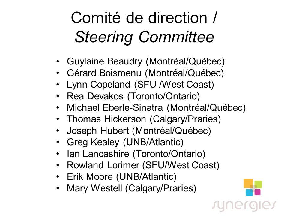 Comité de direction / Steering Committee Guylaine Beaudry (Montréal/Québec) Gérard Boismenu (Montréal/Québec) Lynn Copeland (SFU /West Coast) Rea Deva
