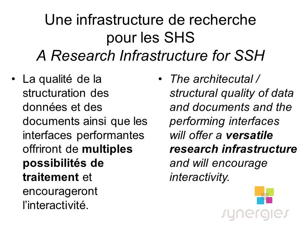 Une infrastructure de recherche pour les SHS A Research Infrastructure for SSH La qualité de la structuration des données et des documents ainsi que les interfaces performantes offriront de multiples possibilités de traitement et encourageront linteractivité.
